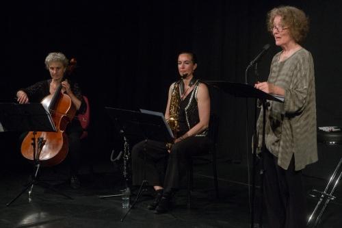 Anka Hirsch, Cello-Julia Ballin, Saxophon-Ursula Illert, Rezitation