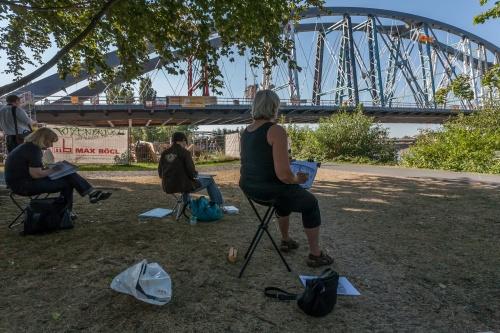 Architekten zeichnen die neue Osthafenbruecke