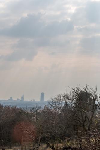 Sonnenstrahlen ueber Frankfurt